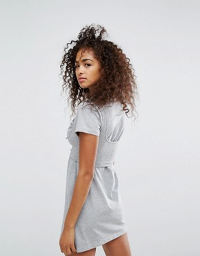 photo Relaxed Mini T-Shirt Dress with Corset Detail Bralet Overlay and Chest Logo by Ellesse, color Grey Marl - Image 2
