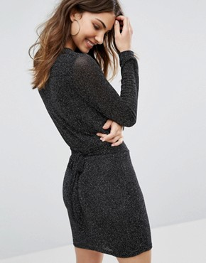 photo Long Sleeve Bodycon Dress by Wal G, color Black - Image 2