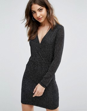 photo Long Sleeve Bodycon Dress by Wal G, color Black - Image 1