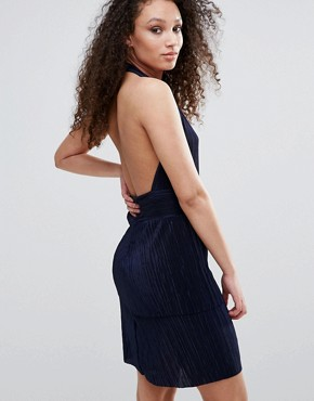 photo Halterneck Bodycon Dress by Wal G, color Navy - Image 2