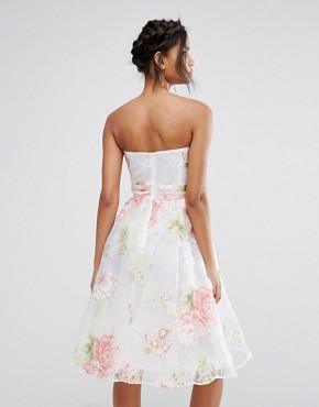 photo Bandeau Midi Dress in Floral Organza by Elise Ryan, color Multi - Image 2