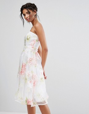 photo Bandeau Midi Dress in Floral Organza by Elise Ryan, color Multi - Image 1
