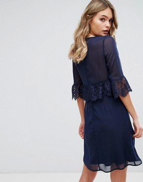 photo Swing Dress with Eyelash Trim by Elise Ryan, color Navy - Image 2