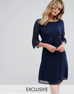 photo Swing Dress with Eyelash Trim by Elise Ryan, color Navy - Image 1