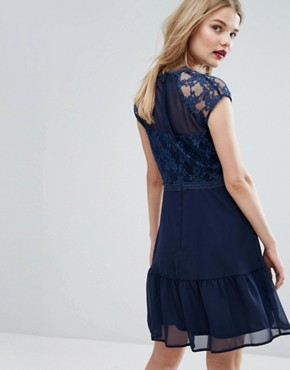 photo Lace Contrast Mini Dress with Pep Hem by Elise Ryan, color Navy - Image 2