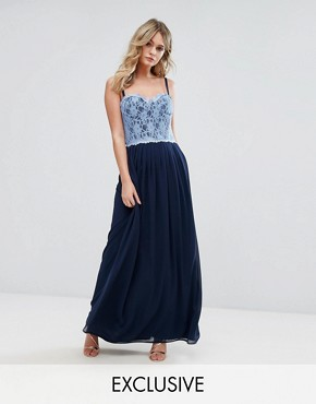 photo Corset Detail Maxi Dress with Lace Bodice by Elise Ryan, color Navy/Cornflower Lace - Image 1