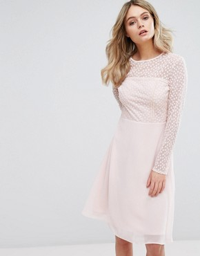 photo Embroidered Midi Dress by Elise Ryan, color Pink - Image 1
