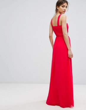 photo Wrap Front Maxi Dress with Embellished Waist by Little Mistress, color Poppy Red - Image 2
