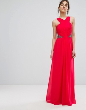 photo Wrap Front Maxi Dress with Embellished Waist by Little Mistress, color Poppy Red - Image 1