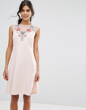 photo A-Line Dress in Mesh and Floral Applique by Elise Ryan, color Pink - Image 1