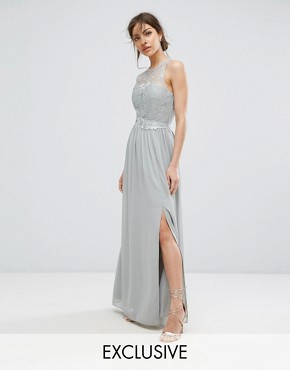 photo Lace Maxi Dress with Belt by Little Mistress, color Waterlily - Image 1