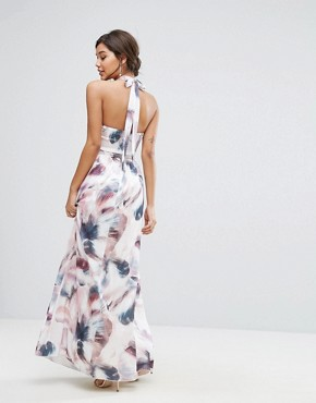 photo High Neck Maxi Dress in Print by Little Mistress, color Multi Print - Image 2