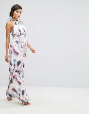photo High Neck Maxi Dress in Print by Little Mistress, color Multi Print - Image 1
