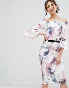 photo Bardot Midi Pencil Dress with Fluted Sleeve and Print by Little Mistress, color Multi Print - Image 1