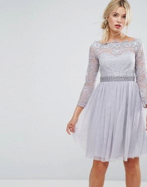 photo Bardot Midi Dress with Embellished Waist by Little Mistress, color Grey - Image 1