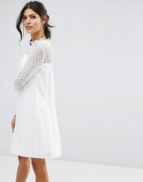 photo High Neck Swing Dress with Lace Upper by Elise Ryan, color Ivory - Image 1