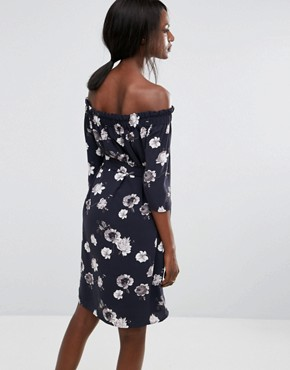 photo Rosanna Off Shoulder Floral Dress by Selected, color Dark Sapphire - Image 2