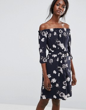 photo Rosanna Off Shoulder Floral Dress by Selected, color Dark Sapphire - Image 1
