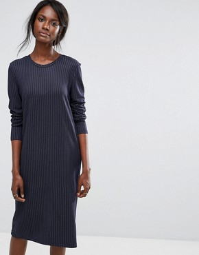 photo Pinstripe Dress by Selected, color Navy Blazer - Image 1