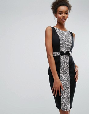 photo Black and Pink Lace Panel Dress by Paper Dolls, color Black - Image 1