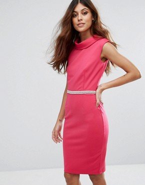 photo Pink High Neck Dress by Paper Dolls, color Pink - Image 1