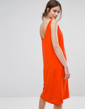 photo Silk Coral Slip Dress by Selected, color Mandarin - Image 2