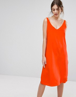 photo Silk Coral Slip Dress by Selected, color Mandarin - Image 1