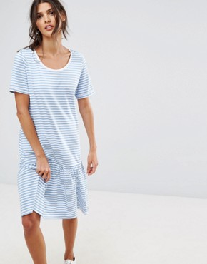 photo Jersey Stripe Dress by Selected, color White Blue - Image 1