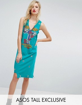 photo Midi Vest Dress with Eyelet Detail and Rock Print by ASOS TALL, color Multi - Image 1