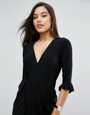 photo Wrap Front Midi Dress with Frill Detail by ASOS, color Black - Image 3