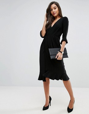 photo Wrap Front Midi Dress with Frill Detail by ASOS, color Black - Image 4