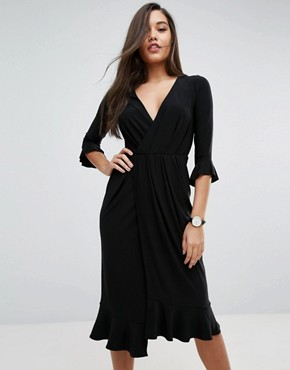 photo Wrap Front Midi Dress with Frill Detail by ASOS, color Black - Image 1