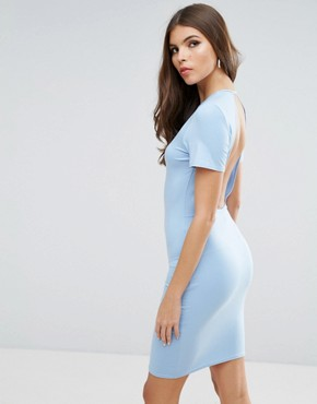 photo T-Shirt Open Back Mini Bodycon Dress by ASOS, color Baby Blue - Image 1
