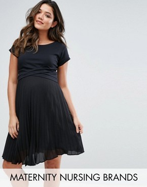 photo Double Layer Dress with Pleated Chiffon by Gebe Maternity Nursing, color Black - Image 1