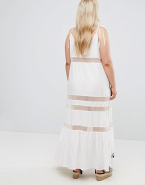 photo Beach Mesh Embroidered Panel Maxi Dress with Peplum Hem by ASOS CURVE, color White - Image 2