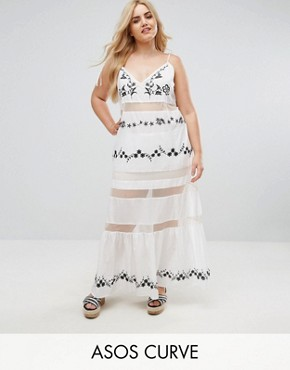 photo Beach Mesh Embroidered Panel Maxi Dress with Peplum Hem by ASOS CURVE, color White - Image 1