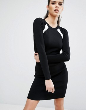 photo Banded Back Long Sleeve Dress by Kendall + Kylie, color Black/White - Image 2
