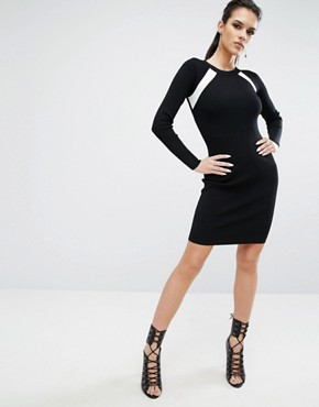 photo Banded Back Long Sleeve Dress by Kendall + Kylie, color Black/White - Image 4