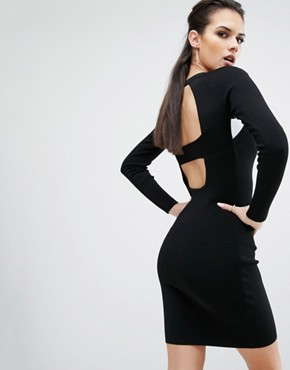 photo Banded Back Long Sleeve Dress by Kendall + Kylie, color Black/White - Image 1