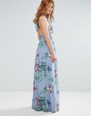 photo High Neck Floral Print Maxi Dress by City Goddess, color Blue - Image 2