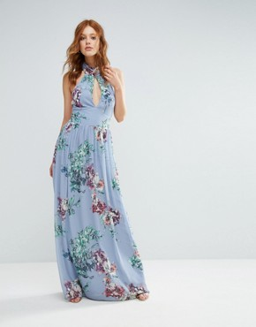 photo High Neck Floral Print Maxi Dress by City Goddess, color Blue - Image 1