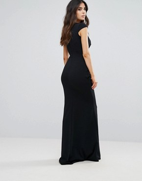 photo Tie Front Fishtail Maxi Dress by City Goddess, color Black - Image 2