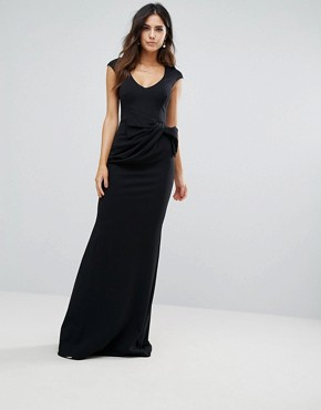 photo Tie Front Fishtail Maxi Dress by City Goddess, color Black - Image 1