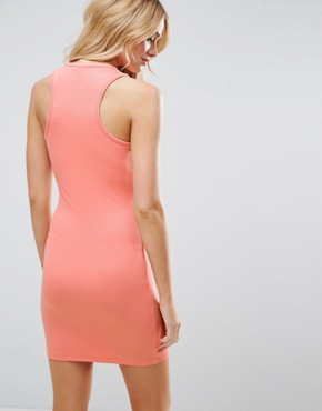 photo Mini Bodycon Ribbed Vest Dress with Racer Back by ASOS, color Coral Pink - Image 2