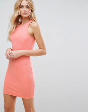 photo Mini Bodycon Ribbed Vest Dress with Racer Back by ASOS, color Coral Pink - Image 1