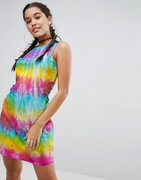 photo Tie Dye Bodycon Mini Dress with Cut Out Detail by ASOS, color Tie Dye - Image 1