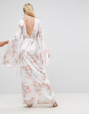 photo Soft Floral Sleeved Drape Maxi Dress by ASOS, color Multi - Image 2