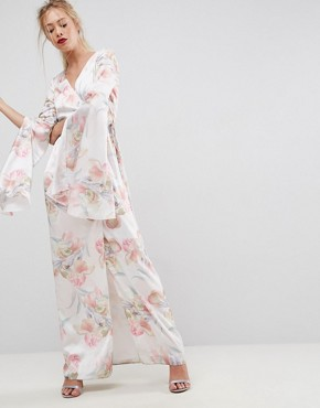 photo Soft Floral Sleeved Drape Maxi Dress by ASOS, color Multi - Image 1