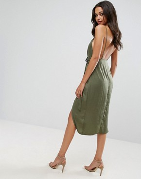 photo Hammered Satin Lace Trim Cami Sexy Wrap Midi Dress by ASOS, color Khaki - Image 2