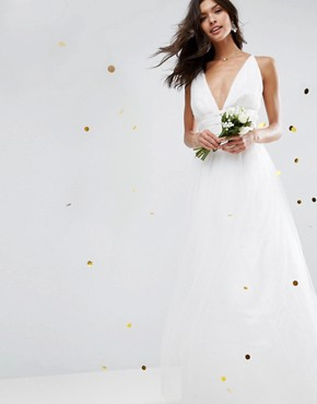 photo Tulle Maxi Prom Dress by ASOS BRIDAL, color Cream - Image 1